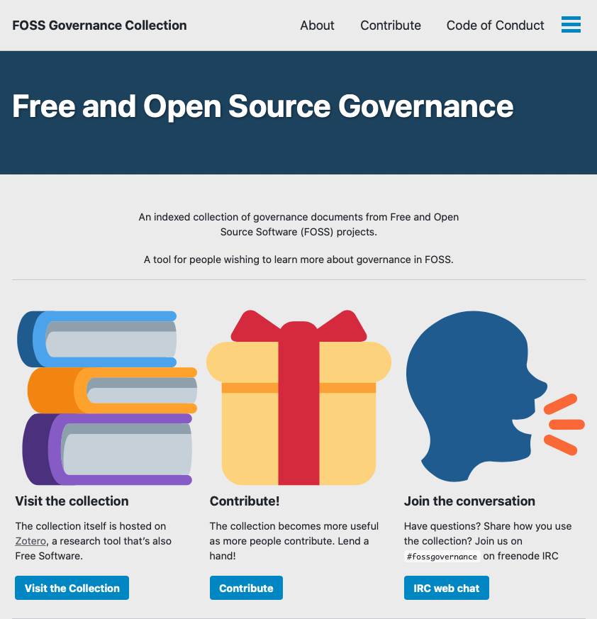 A screenshot of the front page of fossgovernance.org