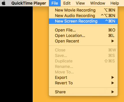Select 'New Screen Recording'